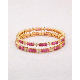 Voylla Pink and White CZ Studded Khanak Bangles