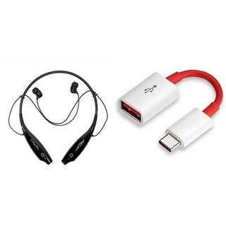 HBS 730 bluetooth headset  and Type C OTG Cable| Stereo Music Earphone Bluetooth Headset with Mic
