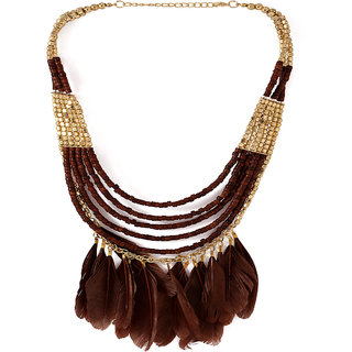 Voylla Multi-Layered Beaded Themed Necklace Adorned With Feathers