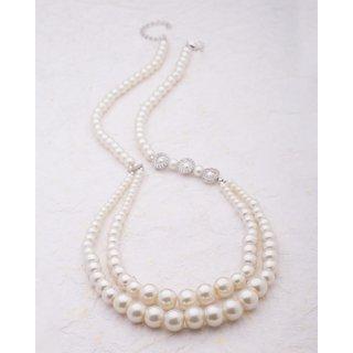 Voylla CZ Studded Pearl Necklace