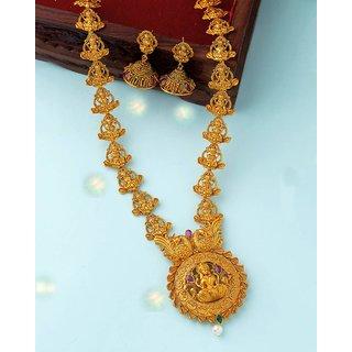Voylla Southern Bling Goddess Lakshmi Motifs Necklace Set