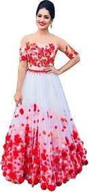 Designer Red and White Colour  Net Material Wedding, Party,And Fastival Wear Lehengha choli(RFWhitePari)