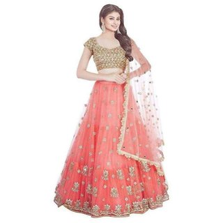 Designer Orange and golden Colour  Net Material Wedding, Party,And Fastival Wear Lehengha choli(RFOrangePari)