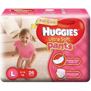 Huggies Ultra Soft Pants Diapers for Girls Large (Pack of 26)