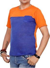 Ceazar Men's round Orange Royal blue pocket tshirt