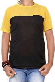 Ceazar Men's round yellow black pocket tshirt