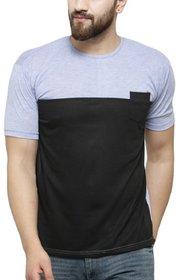 Ceazar Men's round Grey black pocket tshirt