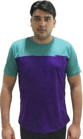 Ceazar Men's round Light Green Purple pocket tshirt