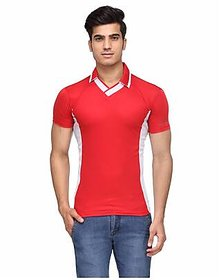 Ceazar Men's Red White V-Neck Sports T-shirt