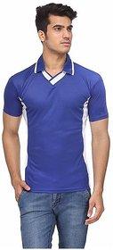 Ceazar Men's Royal Blue White V-Neck Sports T-shirt