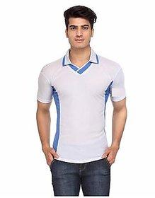 Ceazar Men's White Blue V-Neck Sports T-shirt