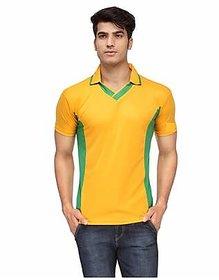 Ceazar Men's Yellow Green V-Neck Sports T-shirt