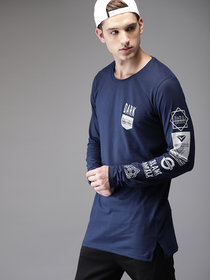 Stylogue Navy Printed Full Sleeves Round Neck T-Shirt For Men
