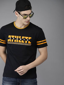 Stylogue Black & Orange Round Neck T-Shirt For Men