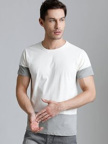 29K White & Grey Round Neck T-Shirt For Men