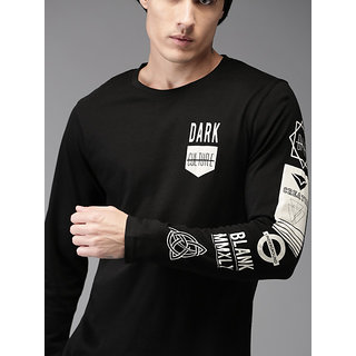 29K Black Printed Full Sleeves Round Neck T-Shirt For Men