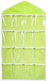 Lc Retail 16 Pockets Clear Hanging Bag For Socks Bra Underwear Cupboard Rack Hanger Storage Organiser.pack of 1