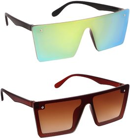 TheWhoop UV Protected Lemon Yellow And Brown Mercury Rectangular Wayfarer Premium Sunglasses For Men, Women, Boys, Girls
