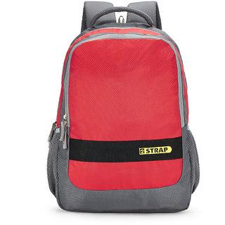 2STRAP Unisex Bolt Grey Red Laptop Backpack Bag