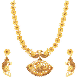 Sukkhi Awesome LCT Gold Plated Peacock Long Haram Necklace Set for Women