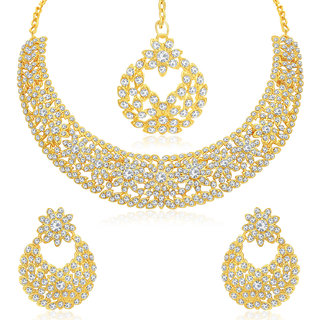 Sukkhi Pleasing Gold Plated Choker Necklace Set For Women
