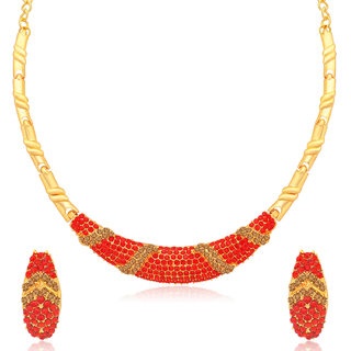 Sukkhi Glorious LCT and Red Stone Gold Plated Necklace Set for Women