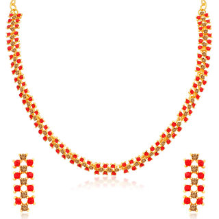 Sukkhi Divine LCT and Red Stone Gold Plated Necklace Set for Women