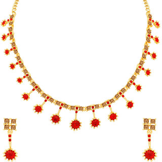 Sukkhi Sparkling LCT and Red Stone Gold Plated Necklace Set for Women