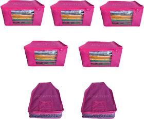 ADWITIYA -Combo- Plain Nonwoven 5 Pcs Saree and 2 Pcs Blouse Salwar Suit Shirt Jeans Bedsheet Garment Cloth Cover (Pink)