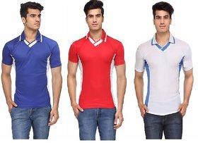 Ceazar Men's V-Neck Sports T-shirt combo(Blue,Red, White Blue)