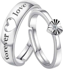 Silver Shine Silver Plated Solitaire 'Endless Love' Heart  Proposal Adjustable Couple ring  for Men and Women,Couple ring for Girls and Boys-2 pieces