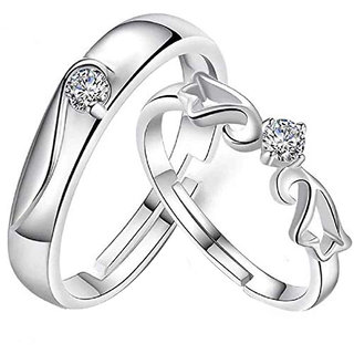 Silver Shine Silver Plated Solitaire unique Adjustable Couple ring  for Men and Women,Couple ring for Girls and Boys-2 pieces