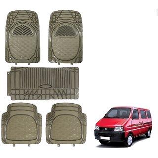 Auto Addict Car Rubber PVC Car Mat 6205 Foot Mats Smoke Color Set of 5 pcs For Maruti Suzuki Eeco