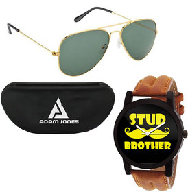 Adam jones Sunglasses with Free Wake Wood Watches(Rakhi Collection)