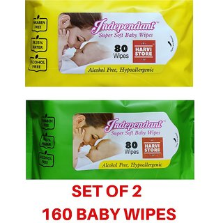 Independent Baby Wipes (Set of 2) 80 wipes in each