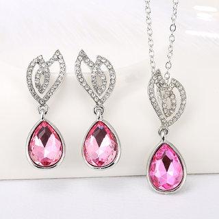 Sukkhi Gorgeous Crystal Pink Colour Stone Rhodium Plated Pendant Set for Women