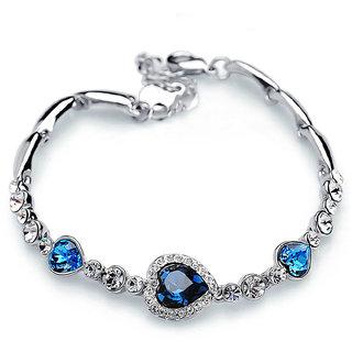Sukkhi Trendy Valentine Heart Crystal Stone Rhodium Plated Aqua Blue Bracelet for Women