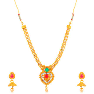 Sukkhi Stylish Gold Plated Heart Shaped 3 String Collar Necklace for Women