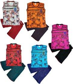 Jisha Boys Round Neck Sleeveless T-Shirt with Shorts Pack of 5