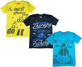 Jisha Pack of 3 Multicolored Printed T-Shirts For Boys(Surya)