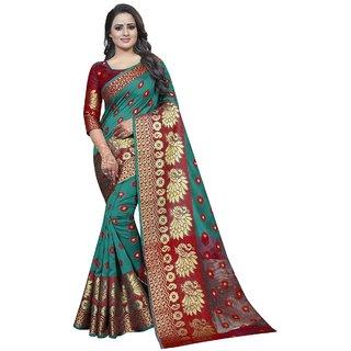 Attractive Self Design Banarasi Cotton Silk Saree  (Multicolor)