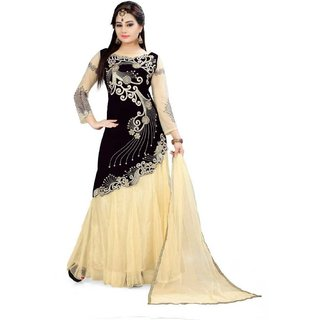 Florence Beige and Black Net Embroidered Lehenga Choli