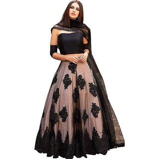 Vkaran Black and Peach Net Embroidered Lehenga Choli