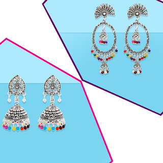 Silver Shine Partywear Traditional Elegant Multi Bead Drop Earrings combo set pair of 2  For Girls And Women