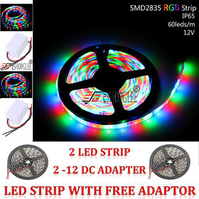 2 Five Meter Muticolor  RGB Led Strip Light with 2 -12 DC Adapter For  Diwali Festival Party Puja