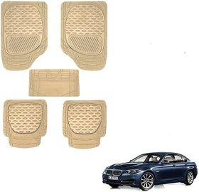 Auto Addict Car 6255 TW Rubber PVC Heavy Mats Beige Color Set Of 5 Pcs For BMW 5 Series