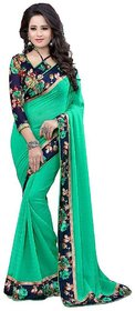 Indian Beauty Turquoise Georgette Block Print Saree With Blouse