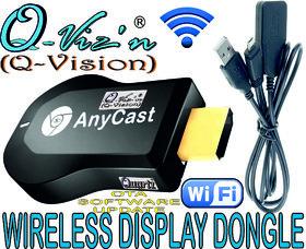 Q-Viz,n(Q-Vision) AnyCast Full HD HDMI  Wireless Display Dongle for Screen Share/ Air Play/ DLNA/ Mira Cast