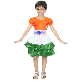 Kaku Fancy Dresses Tricolor Frock Costume For Independence Day/Republic Day - Tricolor, For Girls