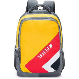 2STRAP Unisex Rugger Yellow Grey Laptop Backpack Bag